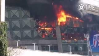 Massive fire erupts at Shanghai's Hongkou Football Stadium, no injuries reported