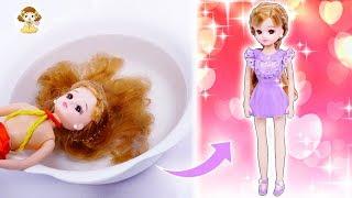 リカちゃん人形をキレイにしよう♥お洋服も粘土で手作り✨可愛くヘアアレンジ🌼おもちゃ 人形 アニメ