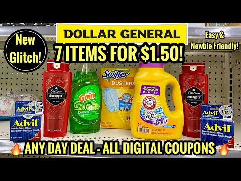 Dollar General | ALL DIGITAL ANY DAY COUPON DEAL | $1.50 for 7 Items – New Glitch Overage! 🔥