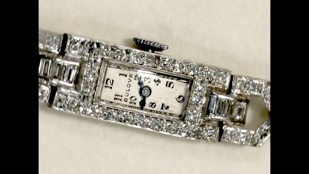 3 20 Ct Diamond Bulova Ladies Cocktail Watch Art Deco