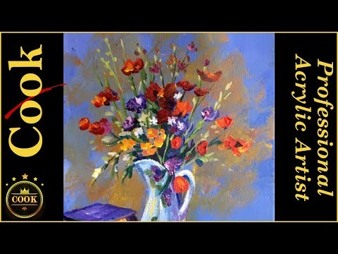 Poppy Flowers in a Blue Pitcher  Acrylic Painting Tutorial with Ginger Cook