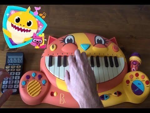 Baby Shark Song By Pinkfong But I Played It on a Drum Calculator and a Cat Piano