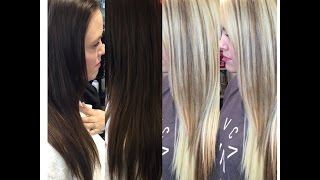 Repeat youtube video Brunette Goes Blonde| NO DAMAGE|Olaplex| One Sitting| Educational Tutorial|