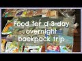 How to pack food for a 3-day overnight backcountry hike