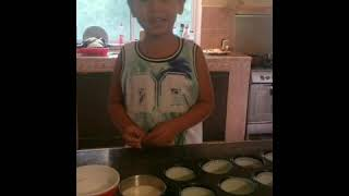 Baking cupcakes with James