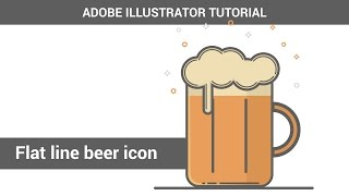 Create vector beer mug in Adobe Illustrator. Flat line icon tutorial.