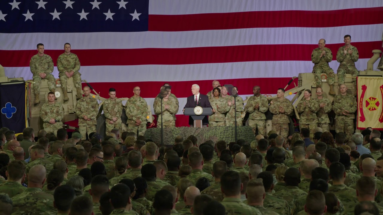 During a visit to Fort McCoy, Wisconsin, on May 16, 2019, Vice President Mike Pence recognized the post's achievements and those of the U.S. Army Reserve's 88th Readiness Division.