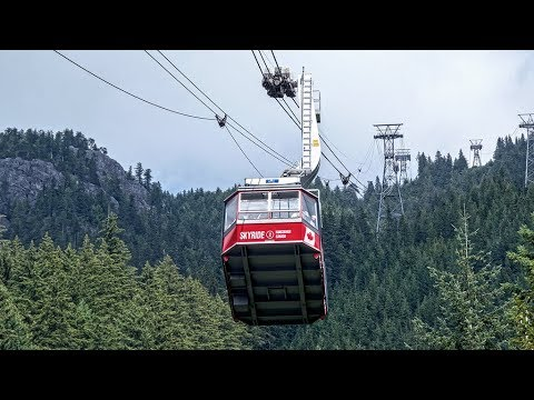 Cable Cars at Grouse Mountain Vancouver ... 4K