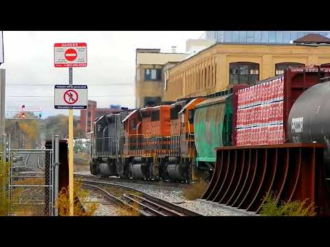GEXR 431 train passing by VIA and GO Station in Kitchener, Ontario