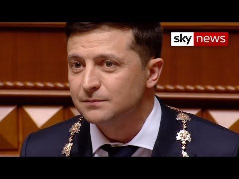 Ukraine's showman president Volodymyr Zelensky takes office
