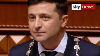 Ukraine's showman president Volodymyr Zelensky takes office