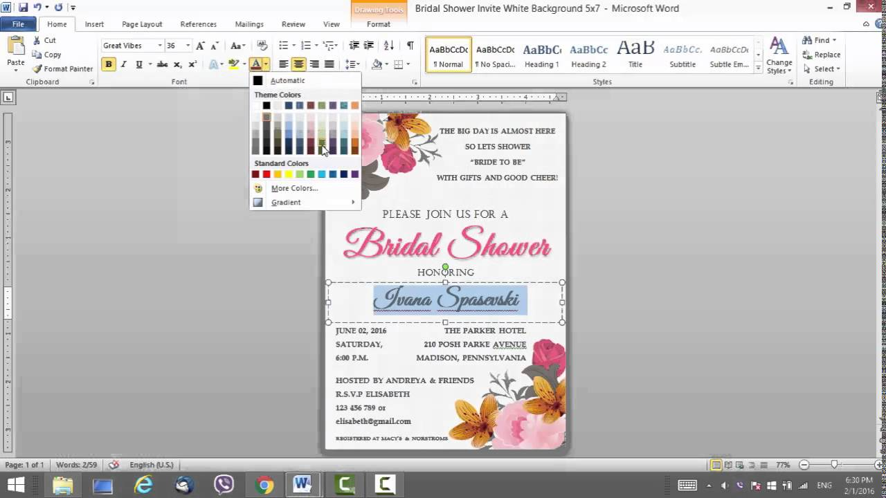 Floral Bridal Shower Invitation Template For MS Word