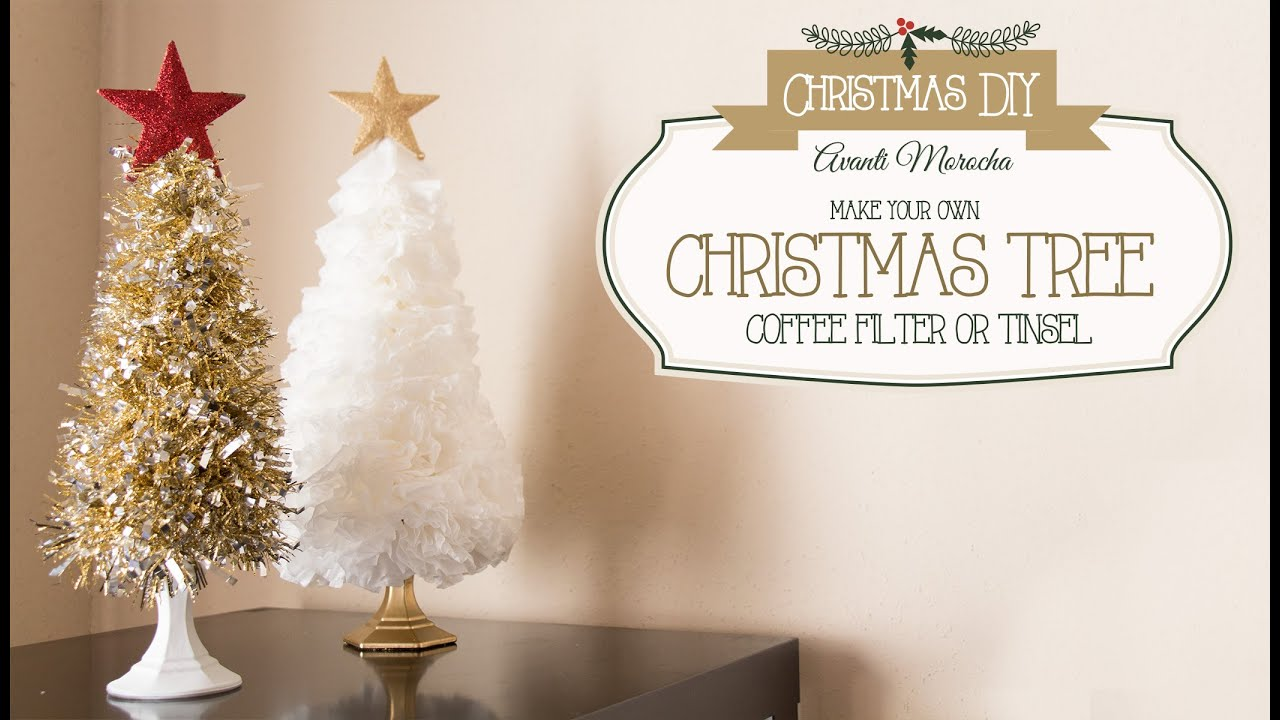 DIY Christmas Tree ( Coffee Filter - Tinsel) Arbol Navideño - YouTube