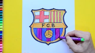 How to draw and color FC Barcelona Logo