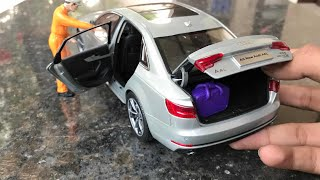 Diecast Unboxing of 2017 Audi A4 1/18 Diecast Paudi Models ft Miniature Luggage
