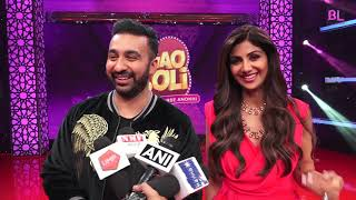 Shilpa Shetty and Raj Kundra on the sets of their live TV show Lagao Boli