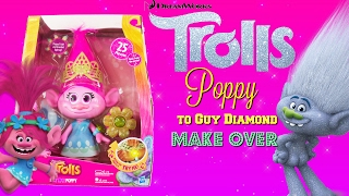 Trolls Hug Time Poppy Doll Transforms into Guy Diamond Unboxing Painting Fun