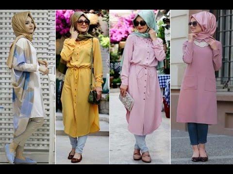 Casual Hijab Outfit - Long blouse lookbook بلوزات طويلة ...