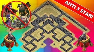 Clash Of Clans | NEW TH9 ANTI 3 STAR WAR BASE! | Town Hall 9 2 Air Sweeper 2015 !