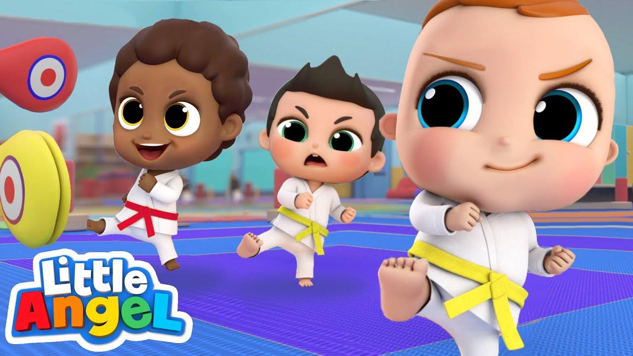 Kick, Kick, Punch!  This Is Karate! | Little Angel Kids Songs & Nursery Rhymes