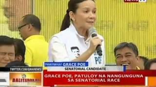 BT: Grace Poe, patuloy na nangunguna sa senatorial race