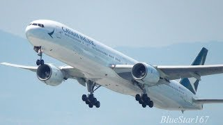 Cathay Pacific Airways Boeing 777-300 (B-HNG) takeoff from KIX/RJBB (Osaka - Kansai) RWY 06R