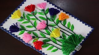 DIY arts and crafts | How to Make Wall Showpiece For Home Decor | Woolen Craft Ideas - Reuse ideas