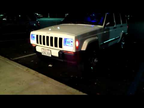 Cherokee sport hid's and led headlights. - YouTube