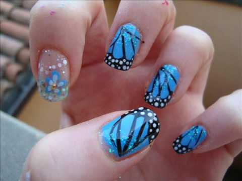 22 blue monarch butterfly wings nail art youtube 22 blue monarch butterfly wings nail art prinsesfo Choice Image