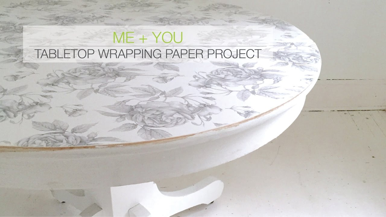 Diy Project Wrapping Paper Tabletop Upcycled Table