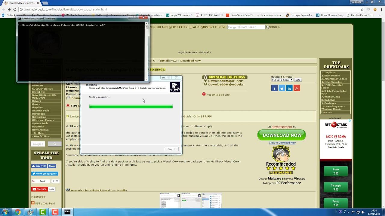 Come installare tutti Microsoft Visual C++ per risolvere mancanza del file   DLL