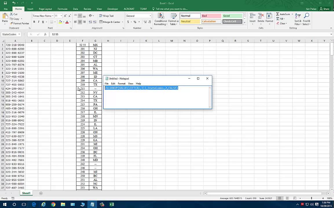 Tutorial - Excel - Phone Area Code to State (VLOOKUP)