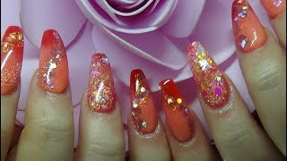 Indian summer ombre Acrylic nails