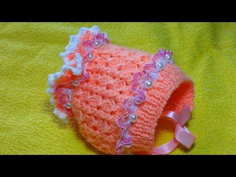 Шапочка-чепчик для новорожденного. Вязание спицами