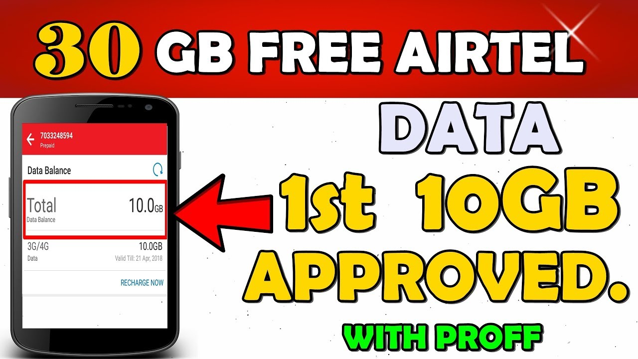 30Gb Free Data    Airtel First 10Gb Approved With Proff (Hindi)