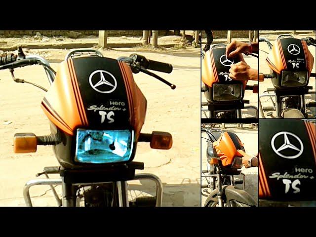 Splendor plus visor modify from vinyl pasting - The stickers