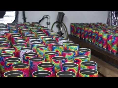 Orca cups hydro dipped in a tie-dye film
