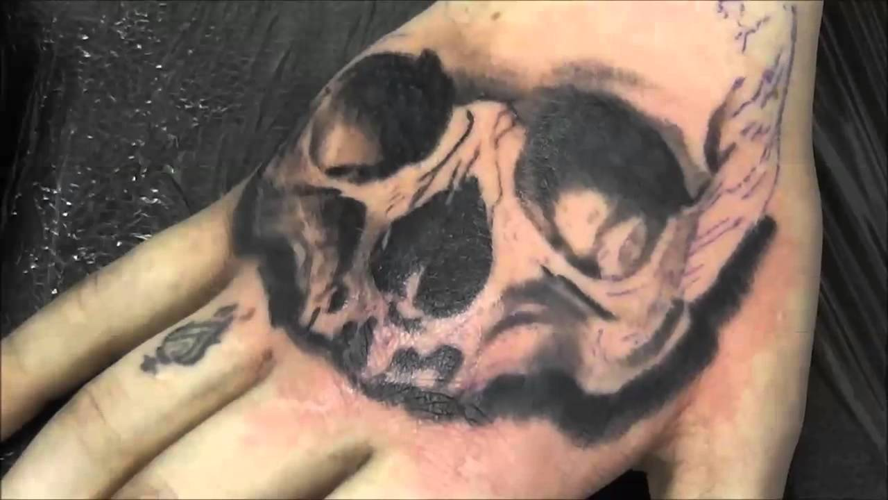 timelapse skull tattoo on the hand youtube. Black Bedroom Furniture Sets. Home Design Ideas