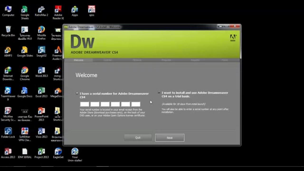 How to install Adobe Dreamweaver CS4 - YouTube