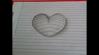 Как нарисовать 3D сердце   карандашом.  Объемное 3Д сердечко. Уроки рисования