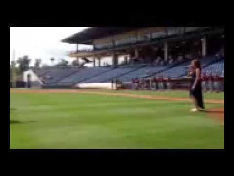10 Year Old Lauren Mask sings National Anthem at Gwinnett Braves