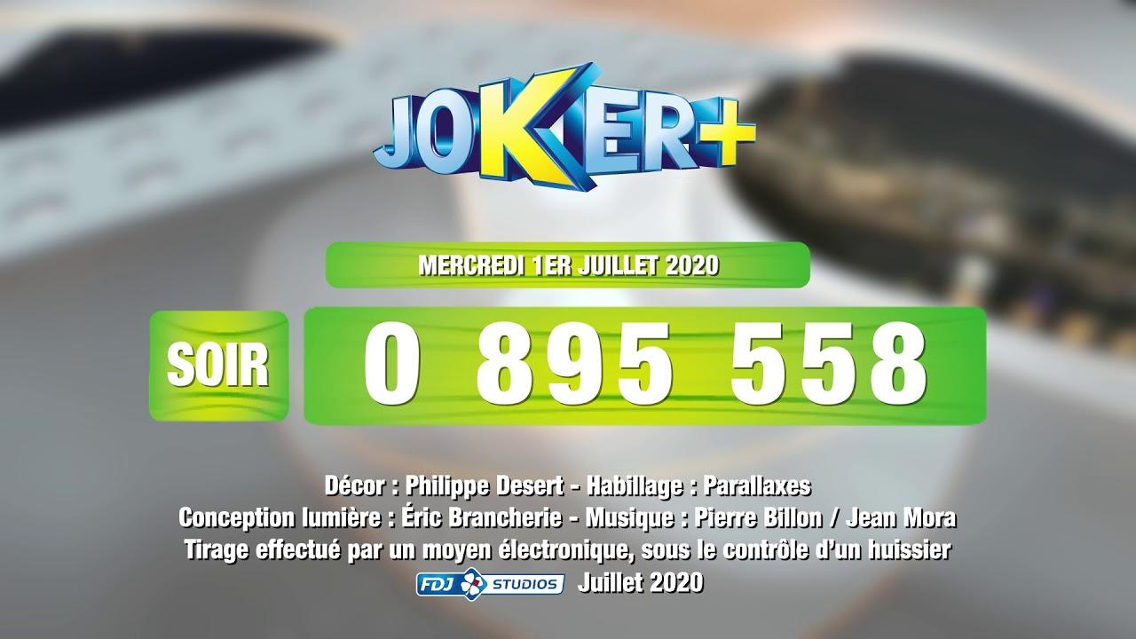 Tirage du soir Joker+® du 01 juillet 2020 - Résultat officiel - FDJ