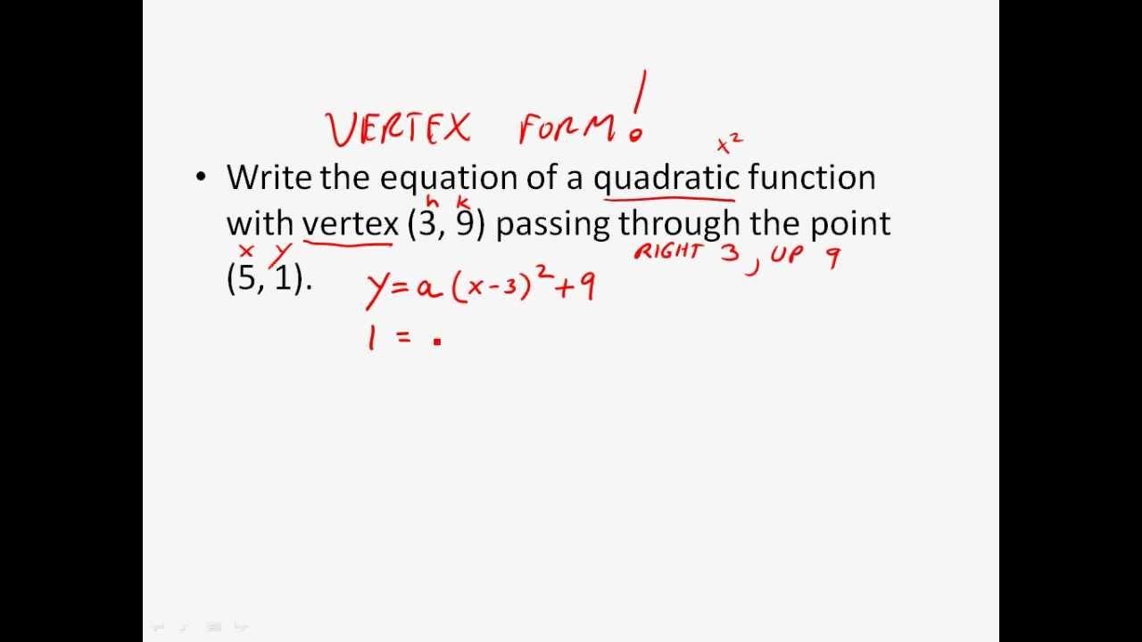 Quadratic Equation Vertex Form ... Writing the...