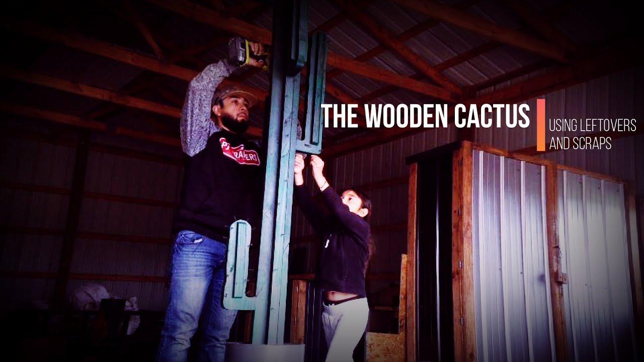 9' WOODEN CACTUS built using leftover and scrap materials!