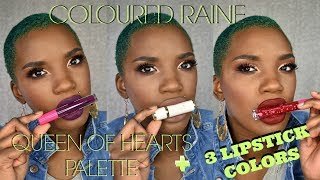 COLOURED RAINE   QUEEN OF HEARTS PALETTE REVIEW & DEMO   WITH 3 LIPSTICKS   BEAUTY BY KANDI