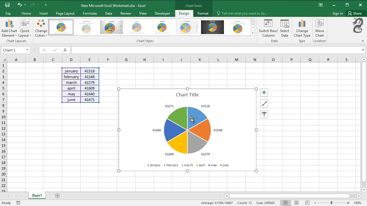 How to display percentage labels in pie chart in Excel