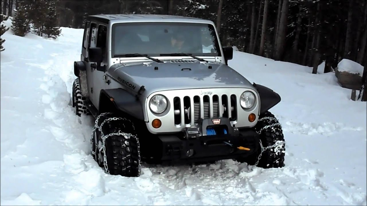 Supercharged Jeep Rubicon Unlimited Testing Snow Chains
