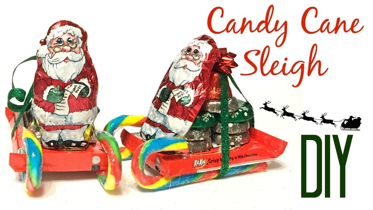 candy cane sleigh diy dollar tree youtube - Christmas Sled