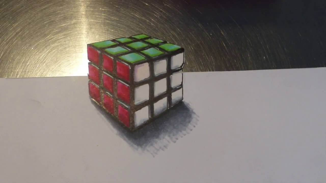 Souvent Dessin rubiks cube 3D/Drawing 3D Rubiks cube - YouTube SO93