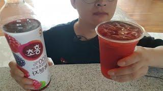 나른한 오후 홍초 복분자맛 찐하게 타마시기 음료수 먹방…